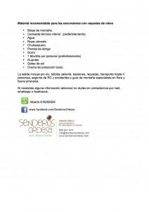 Lista de material recomendable para una excursión con raquetas. DESCARGATELA.